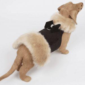 champagne fox fur coat with nouveau bow