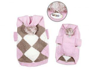 Argyle Hoodie Sweater with Pompom