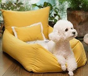 Linen Mustard Dog Bed