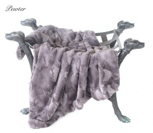 luxe collection blankets in pewter