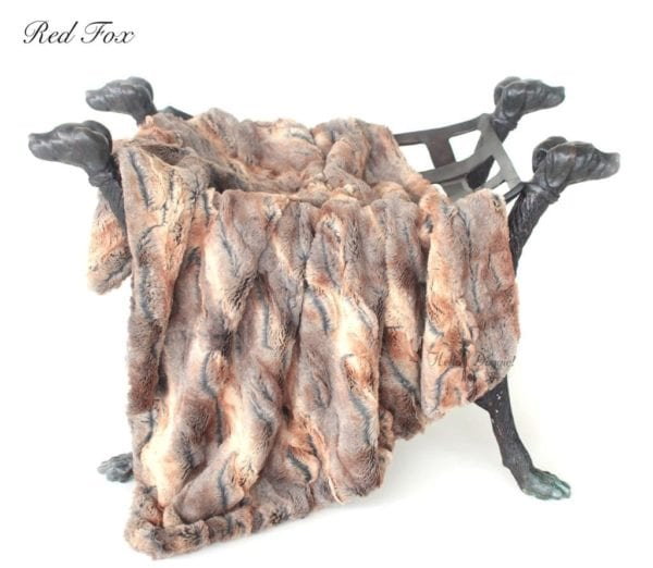 luxe collection blankets in red fox