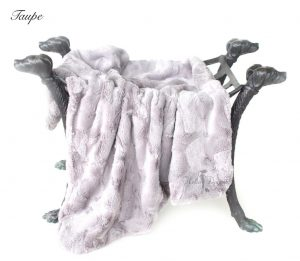 luxe collection blankets in taupe