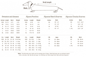 Alqo Wasi Size Chart