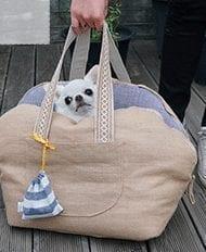louis dog linen carrier