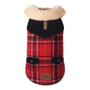 red wool shearling coat