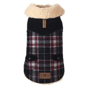 black wool shearling coat