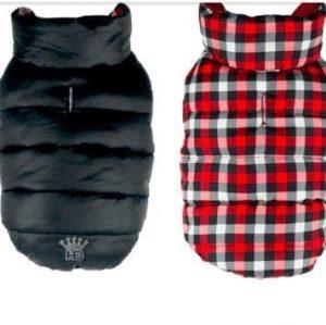 gingham reversible puffer vest