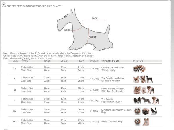 Pretty Pet Size Chart