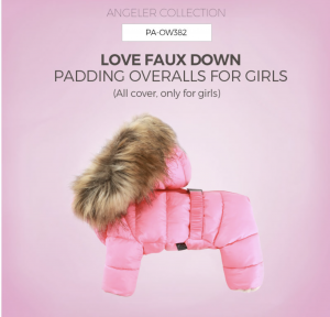 ANGELER Faux Girls Down Padding Overalls