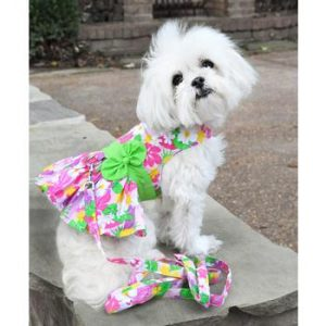pink hawaiian floral dog dress