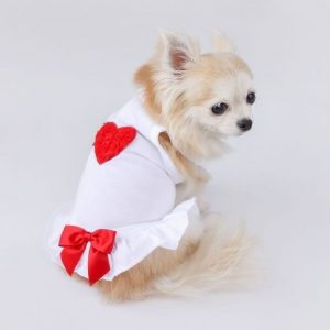red puff heart dress