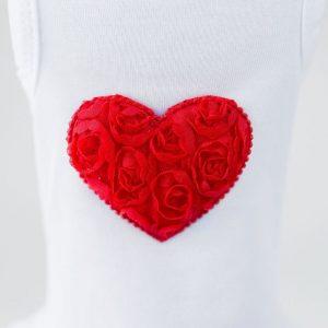 red puff heart dress