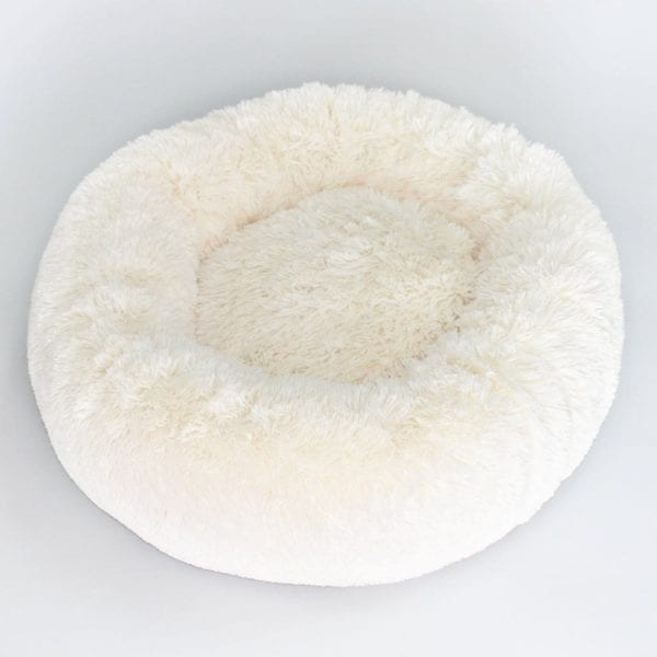 Hello Doggie Cuddle Shag Bed in Cream