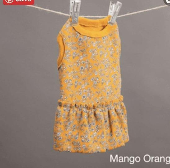 orange mango botanical dress