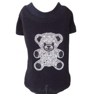 Teddy Bear Rhinestone Tee in black