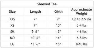 Teddy Bear Rhinestone Tee Size Chart