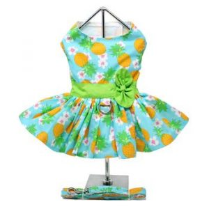 Pineapple Luau Dog Harness Dress With Matching Leash 4560