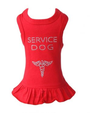 service dog dress in red by hello doggie