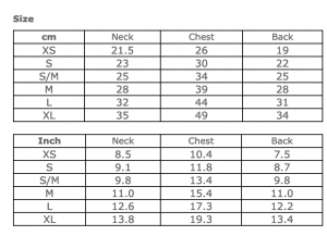 Studded Couture Size Chart