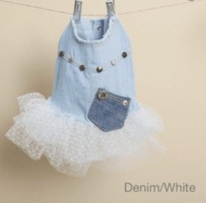 Studded Couture Tutu Dress in Denim