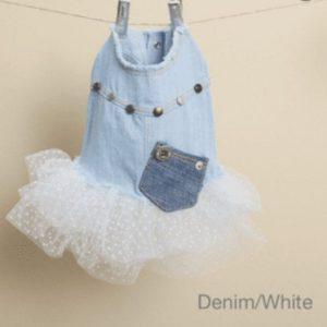 Studded Couture Tutu Dress in Denim