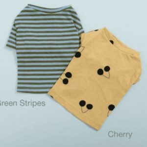 cherry/green stripes tee n sleeveless set