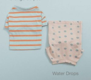 water drops and orange stripes tee n sleeveless set