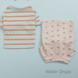 water drops and orange stripes tee n sleeveless set