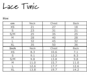 Lace Tunic Size Chart