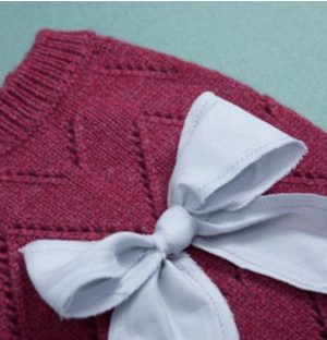 Ribbon Pointelle Cashmere Sweater in Raspberry