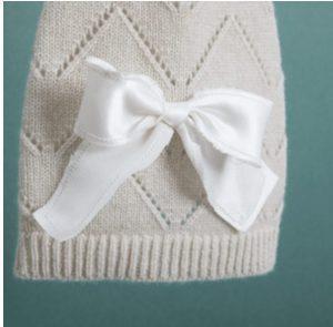 Ribbon Pointelle Cashmere Sweater in Vanilla