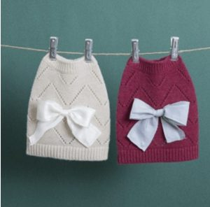 Ribbon Pointelle Cashmere Sweater in Vanilla and Raspberry