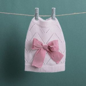 Ribbon Pointelle Cashmere Sweater in Salt Pink
