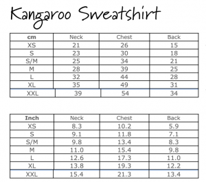 Kangaroo Sweatshirt Size Chart