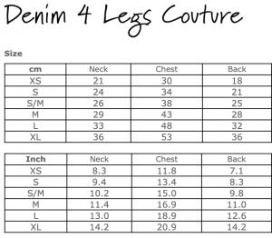 denim 4 leg couture  size chart