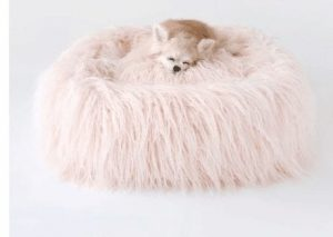 Himalayan Yak Dog Bed in Peach