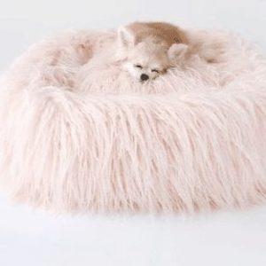 Himalayan Yak Dog Bed in Peach