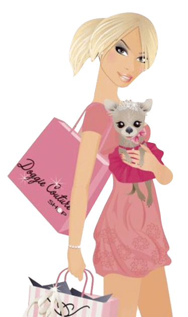 woman and pup shopping