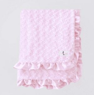 Baby Ruffle Dog Blanket in Baby Pink