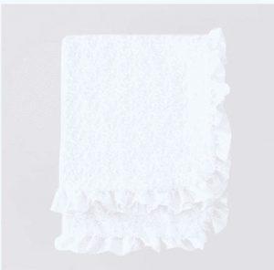 Baby Ruffle Dog Blanket in White