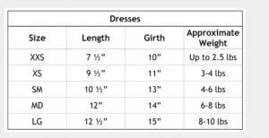 Ms. Boo Dress Size Chart
