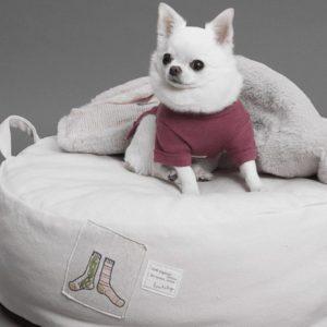 Applique Cushion Dog Bed Socks in Pink Beige