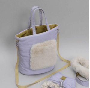 walking fur bag in lilac