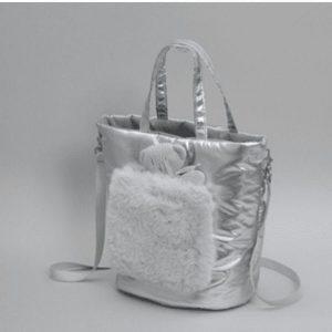 walking fur bag in silver