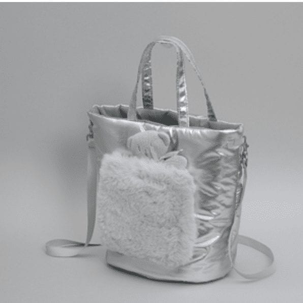 walking fur bag in silver