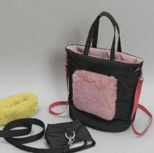 walking fur bag in charcoal
