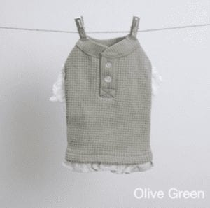 Waffle Frill Tee in olive