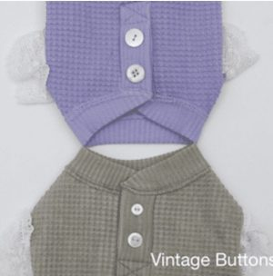 Waffle Frill Tee in lavender and olive