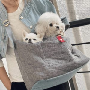 Irish Linen Dog Sling Bag in Yellow Navy Linen