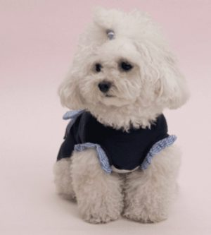 Ribbon Sleeveless Dog Tee in Midnight Blue